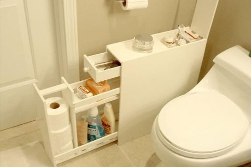 Выдвижные ящики в интерьере ванной 1