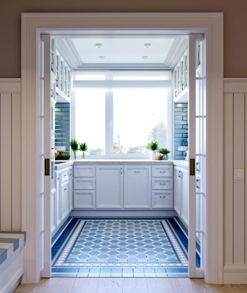 Дизайн потолка в интерьер маленькой кухни 2