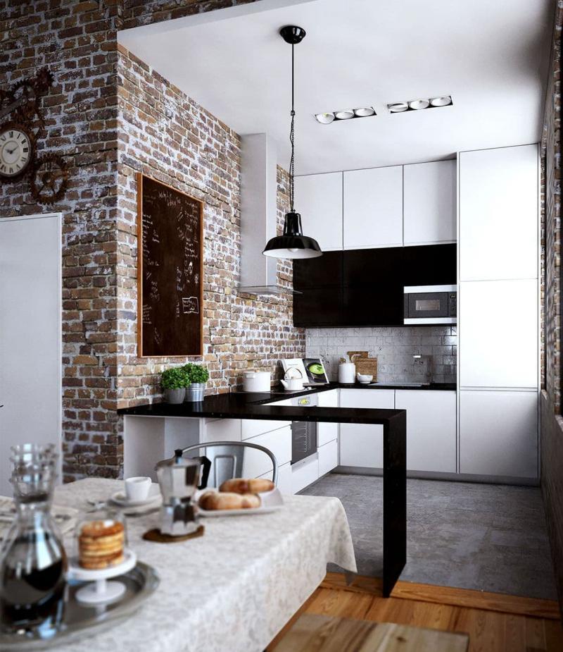 Маленькая кухня в стиле лофт 2