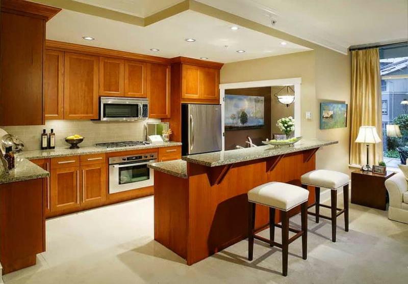 Барная стойка в интерьере кухни 2