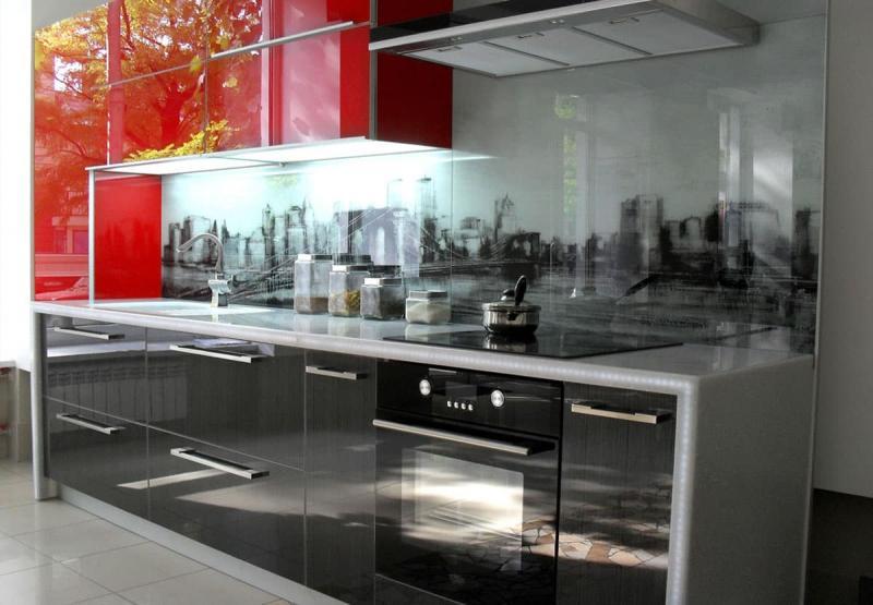 Фасады для кухни из стекла