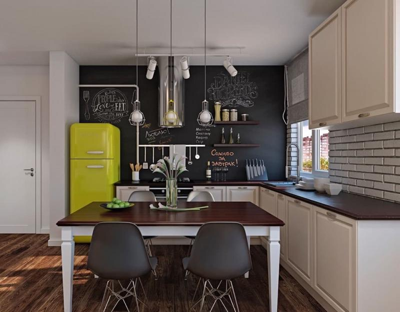 Холодильник в интерьере кухни 3