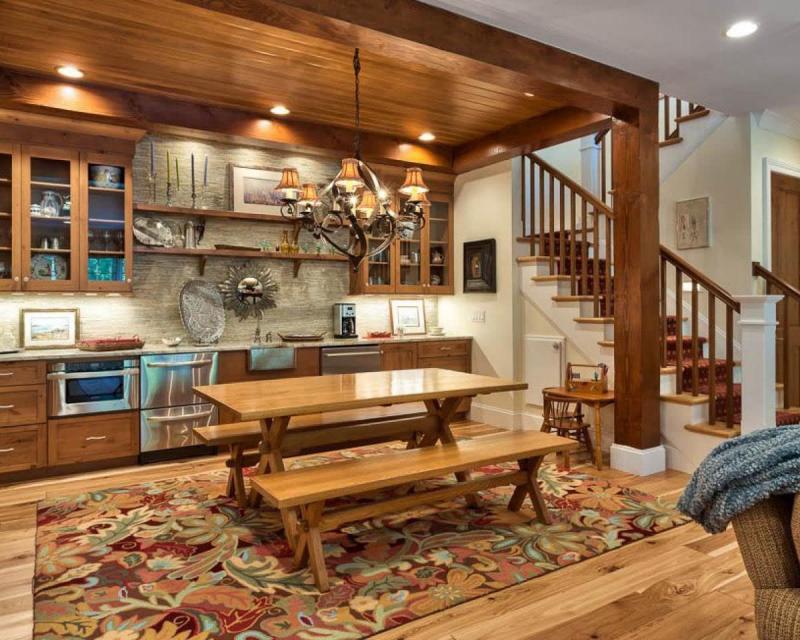 Интерьер кухни со скамейками