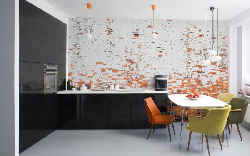 Кафель в интерьере кухни 4