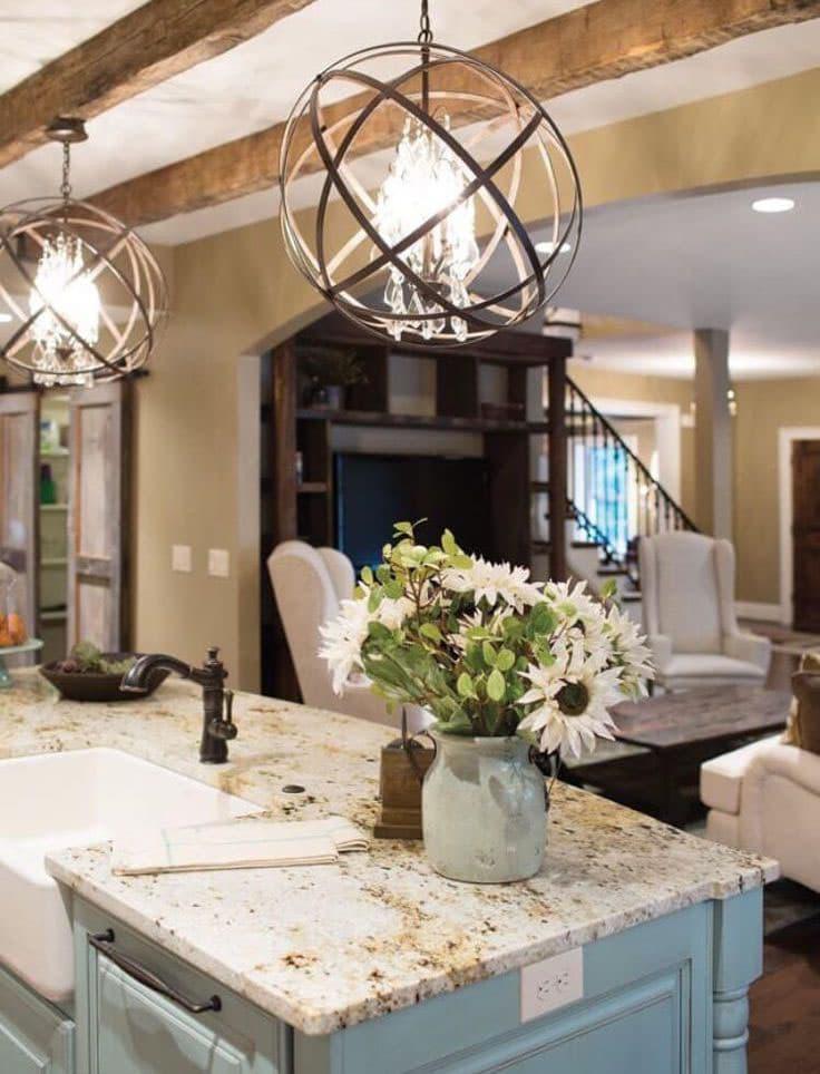 Светильники в интерьере кухни 3