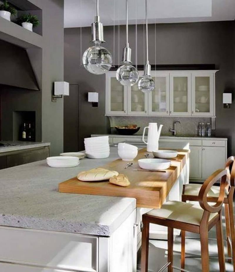 Светильники в интерьере кухни 4