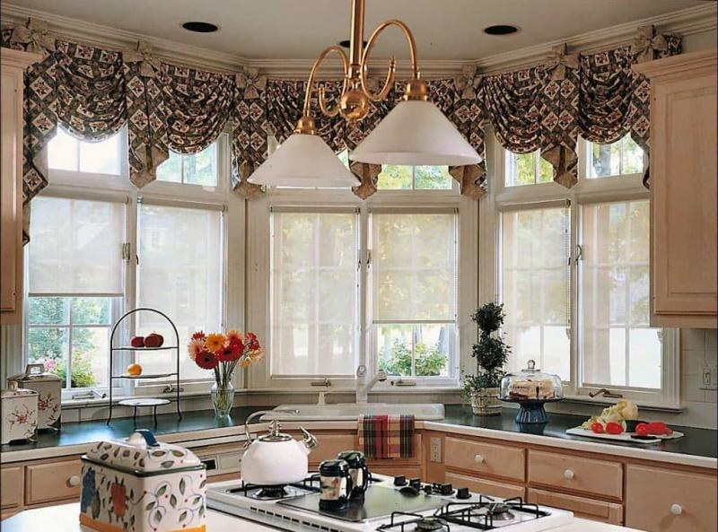 Curtains for kitchen with bay window 7