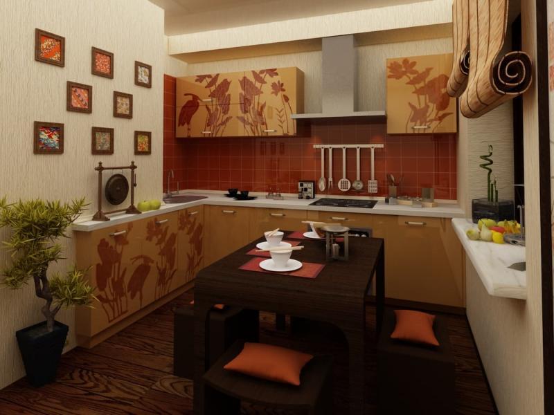 Шторы для кухни в восточном стиле 3