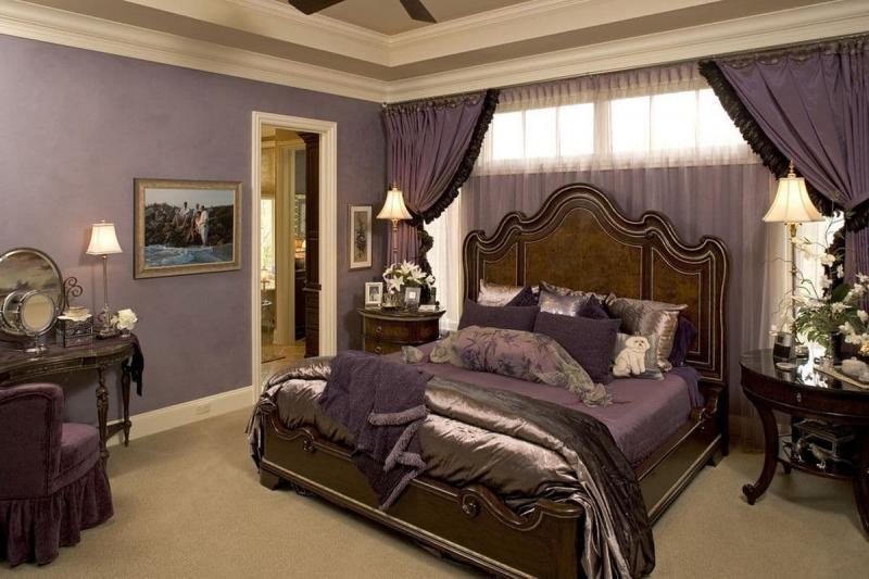 Фиолетовые шторы для спальни 1