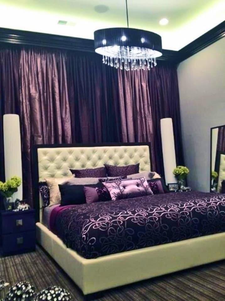Фиолетовые шторы для спальни 3