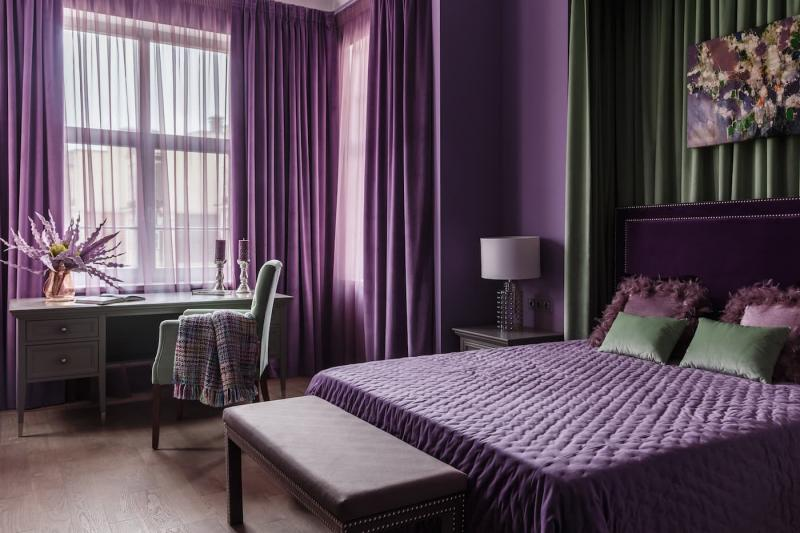 Фиолетовые шторы для спальни 5
