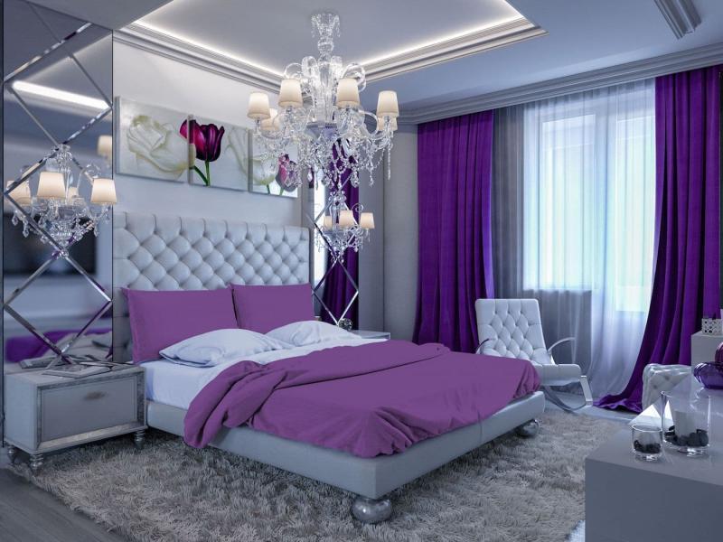 Фиолетовые шторы для спальни 6