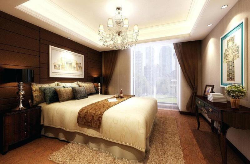 Коричневые шторы для спальни 7
