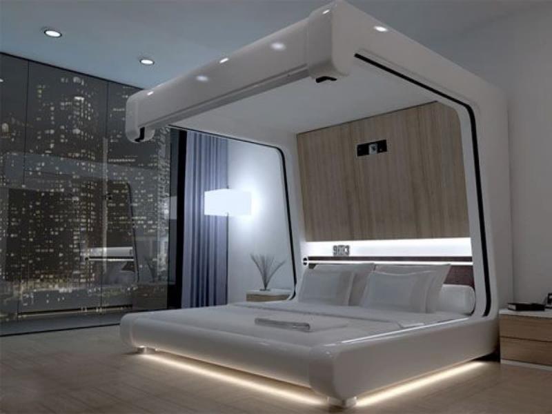 Шторы для спальни в стиле хайтек 1