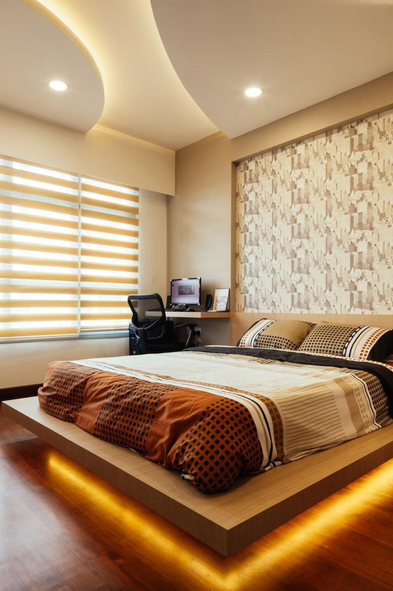 Шторы для спальни в стиле хайтек 4