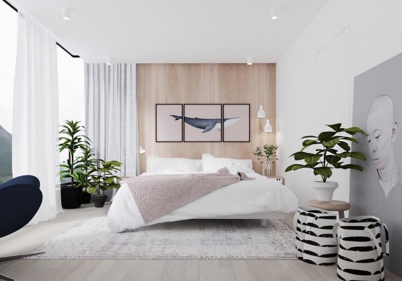 Шторы для спальни в стиле минимализм 2