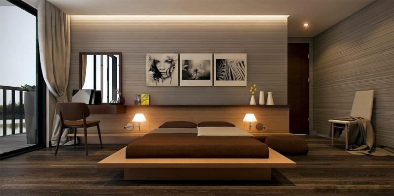 Шторы для спальни в стиле минимализм 7