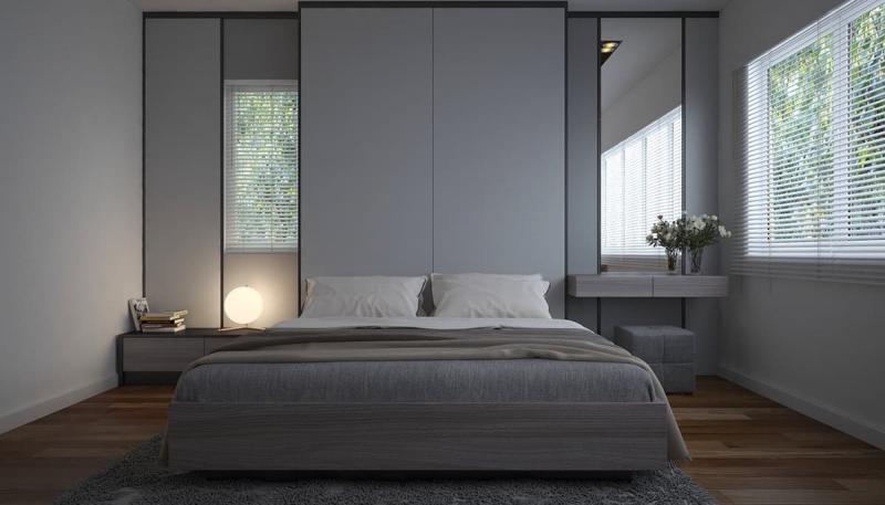 Шторы для спальни в стиле минимализм 9