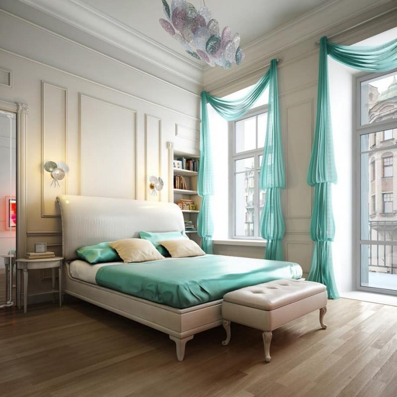 Зеленые шторы для спальни 10