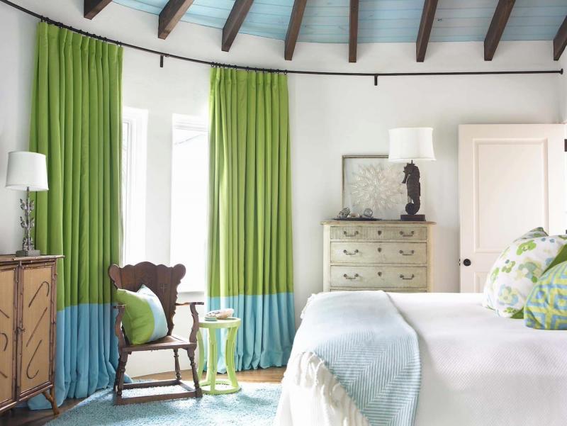 Зеленые шторы для спальни 3