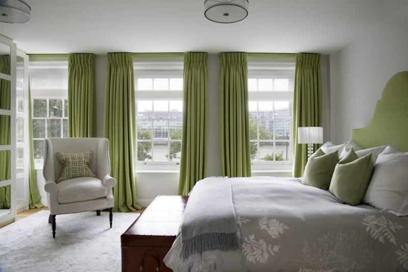 Зеленые шторы для спальни 4