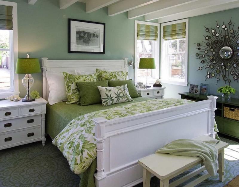 Зеленые шторы для спальни 5