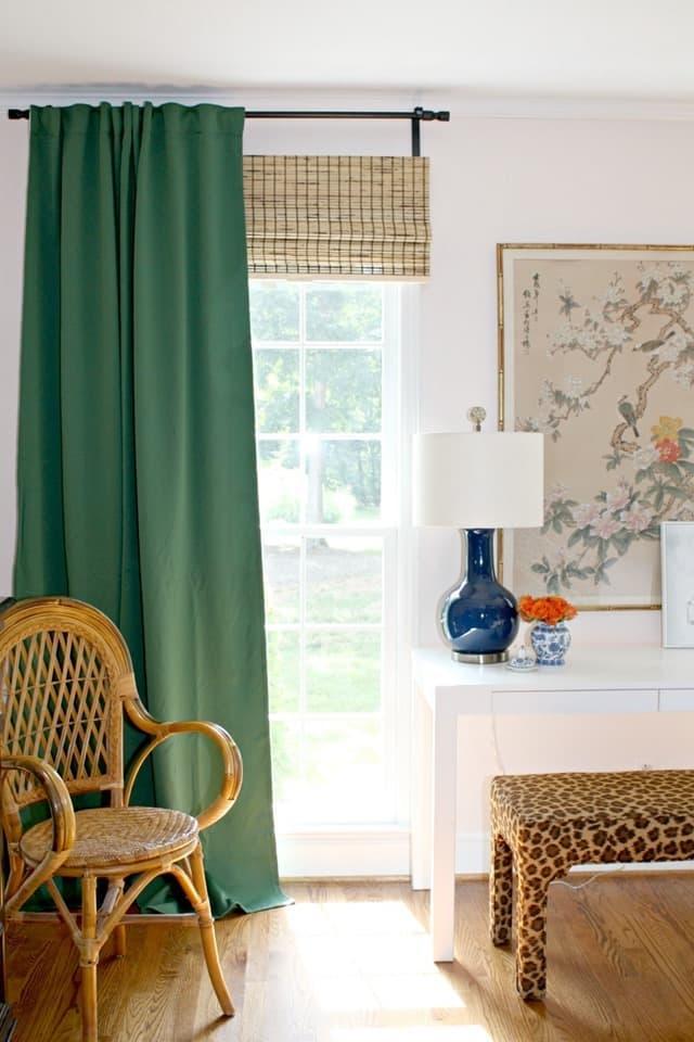 Зеленые шторы для спальни 7