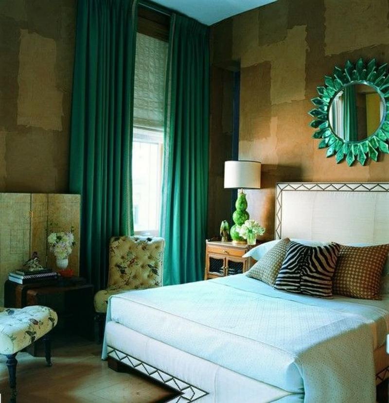 Зеленые шторы для спальни 9