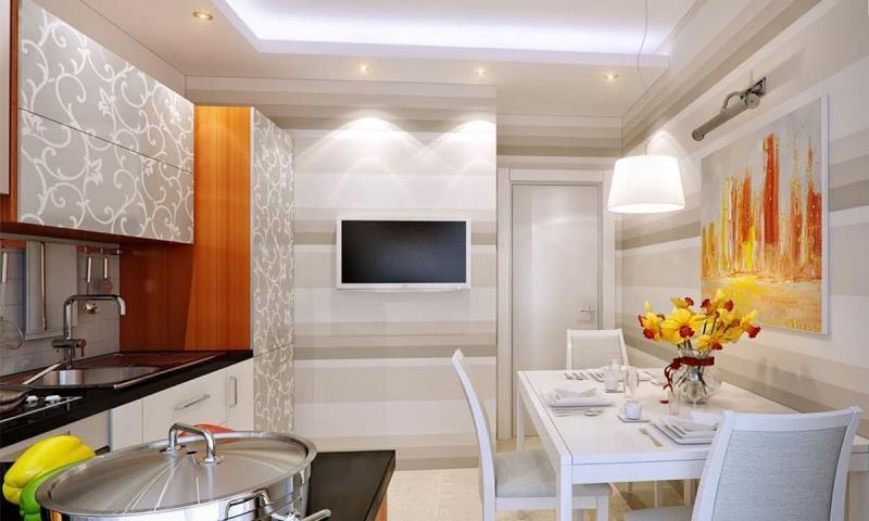 кухонные обои для кухни-студии 6