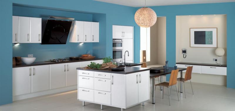 кухонные обои голубая гамма 1