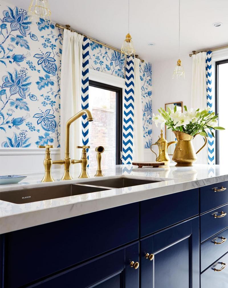 кухонные обои голубая гамма 11