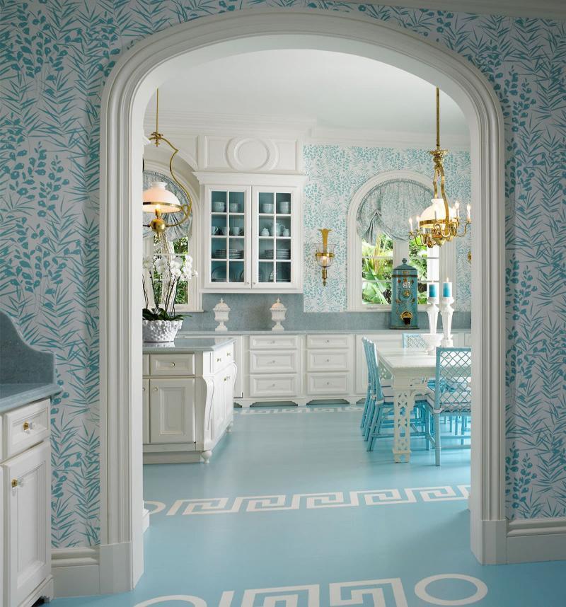 кухонные обои голубая гамма 12
