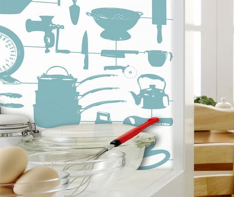 кухонные обои голубая гамма 2