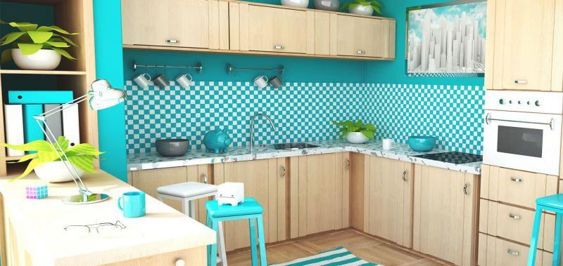 кухонные обои голубая гамма 6