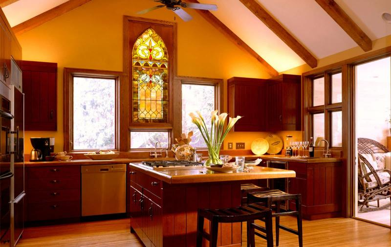кухонные обои оранжевая гамма 6