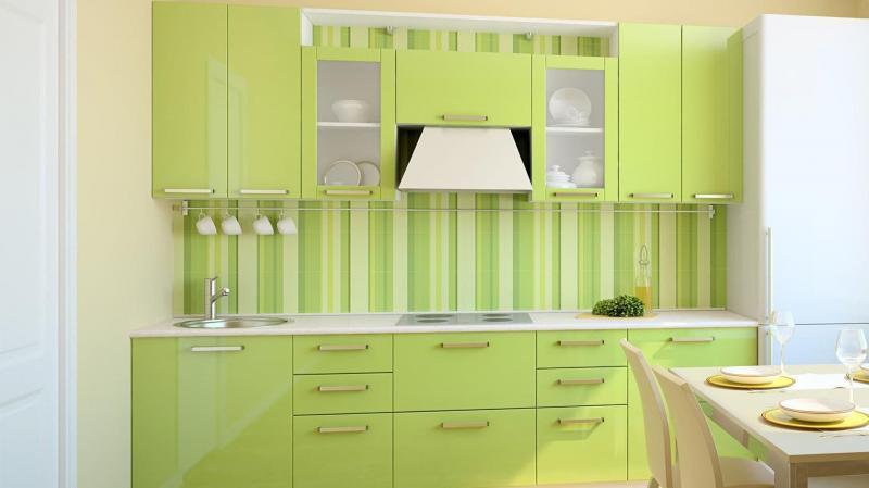 кухонные обои зеленая гамма 13