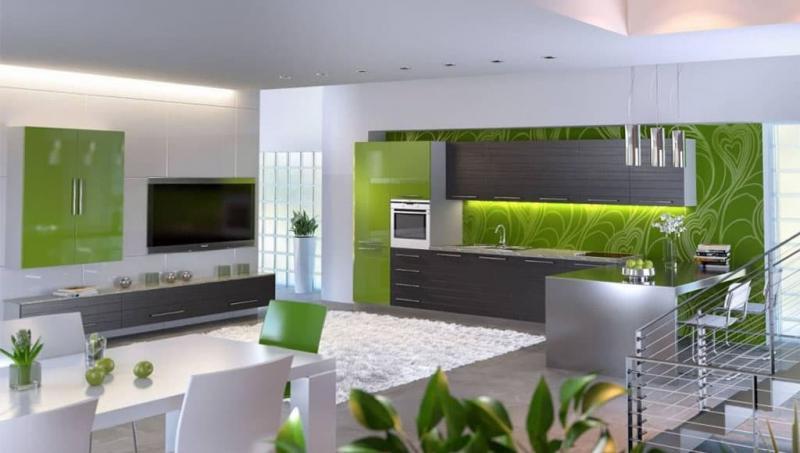 кухонные обои зеленая гамма 4 1