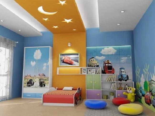Дизайн потолка из гипсокартона для детской 9