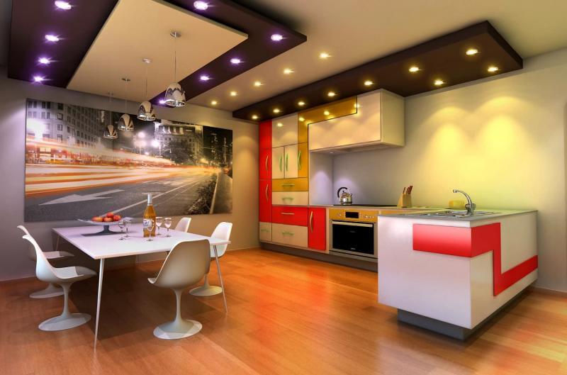 Потолок из гипсокартона для кухни 4