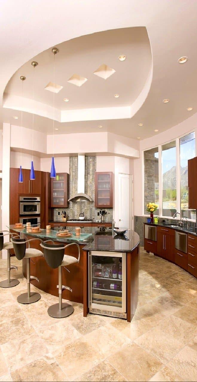 Потолок из гипсокартона для маленькой кухни 2