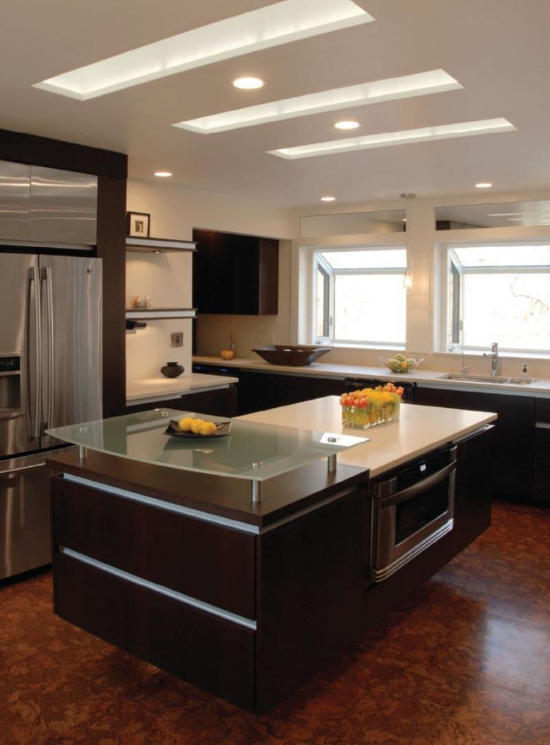 Потолок из гипсокартона для маленькой кухни 3