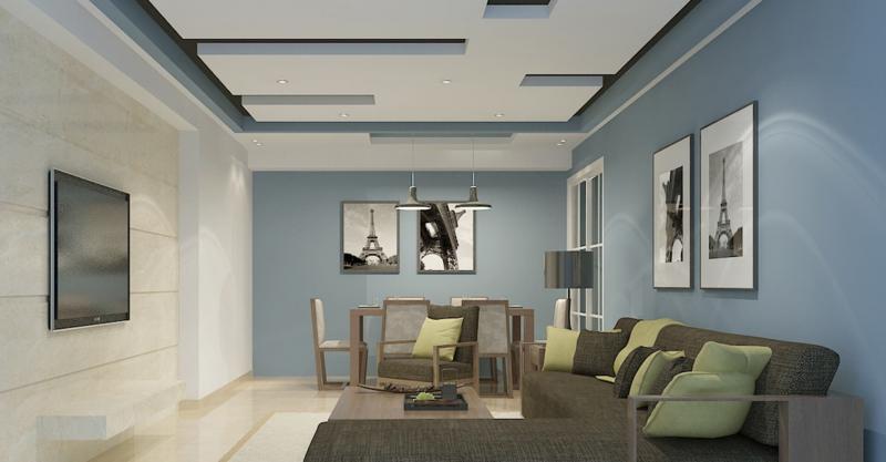 Потолок из гипсокартона для зала в хрущевке 6