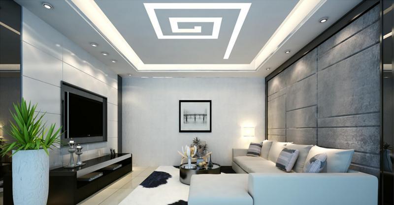Потолок из гипсокартона для зала в хрущевке 7