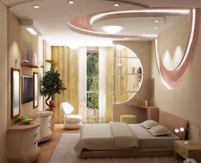 Потолок из гипсокартона с подсветкой 1