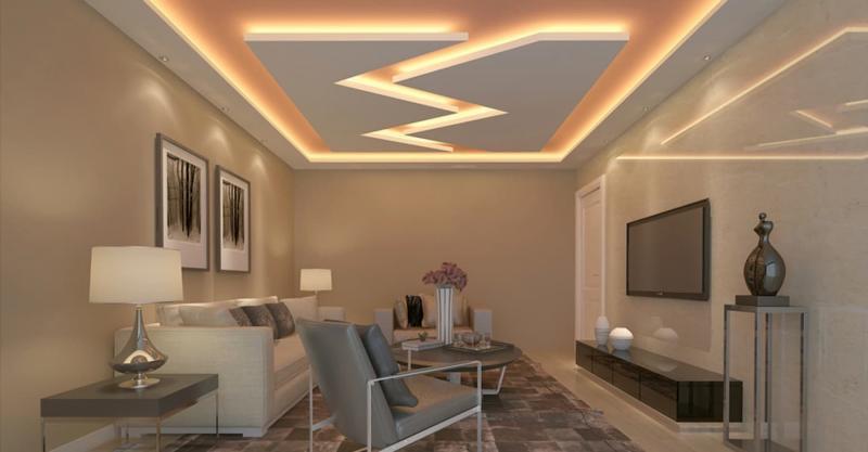 Потолок из гипсокартона с подсветкой 8