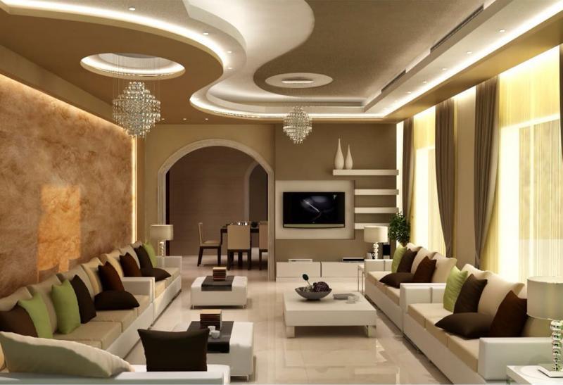 Потолок из гипсокартона в гостиной 3