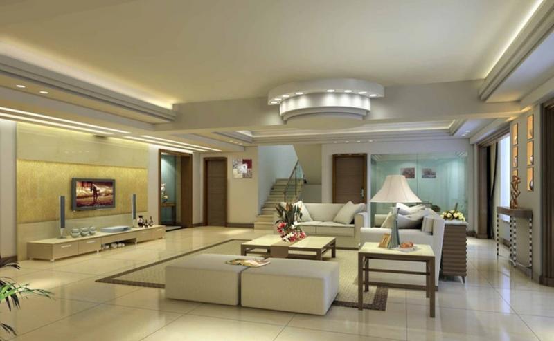 Потолок из гипсокартона в гостиной 4