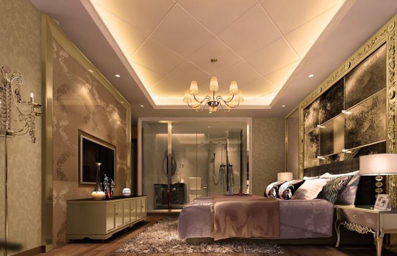 Потолок из гипсокартона в спальне 1