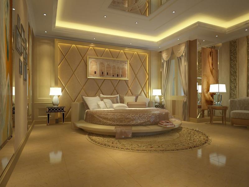 Потолок из гипсокартона в спальне 10
