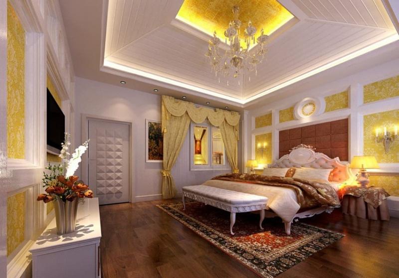 Потолок из гипсокартона в спальне 2